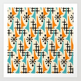 Mid Century Modern Atomic Wing Composition Orange & Blue Art Print