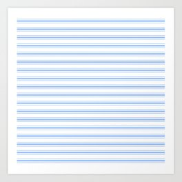 Mattress Ticking Wide Striped Pattern in Pale Blue and White Art Print