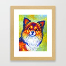 Colorful Long Haired Chihuahua Dog Framed Art Print