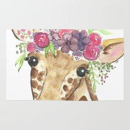 Flower Crown Giraffe Watercolor Rug