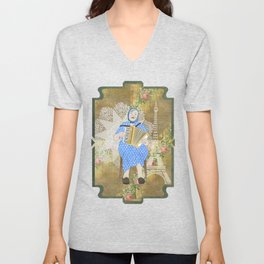 Woman Playing the Accordion Unisex V-Neck