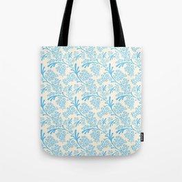 Vintage chic pastel blue ivory floral damask pattern Tote Bag