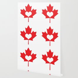 Canada Day Maple and Heart Wallpaper