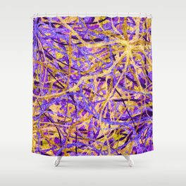 Purple and Gold Celebration Shower Curtain