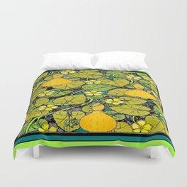 Green Art Nouveau Vines Gourds Floral Teal Art Duvet Cover