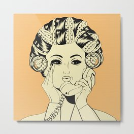 The woman with the curlers Metal Print