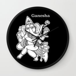 Dancing Ganesha hand drawn illustration. Dancing elephant. Hindu God. Indian God. Travel in India il Wall Clock
