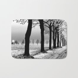 Winter Landscape (Winter Trees, Setting Sun) Bath Mat