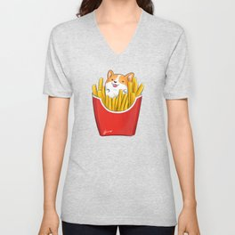 French Corgi Fries Unisex V-Neck