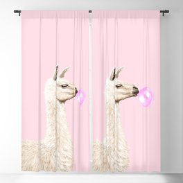 Playful Llama Chewing Bubble Gum in Pink Blackout Curtain