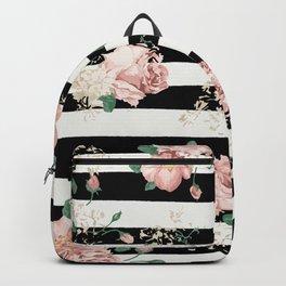 dc0410cbf4 VINTAGE FLORAL ROSES BLACK AND WHITE STRIPES Backpack