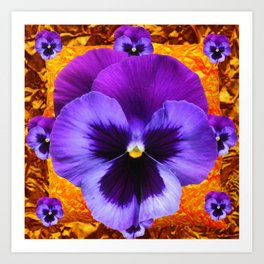 PURPLE COLORED SPRING PANSY DESIGN Art Print