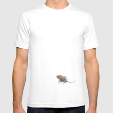 Little mouse SMALL Mens Fitted Tee White