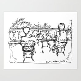 B & G, Happy Anniversary (A Continuous Line Drawing) Art Print