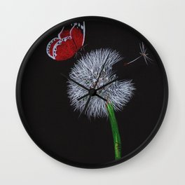 Dandelion with red butterfly Wall Clock