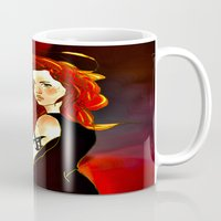 the mortal instruments Mugs featuring Clary Fray from The Mortal Instruments by Cassandra Clare by Amitra Art
