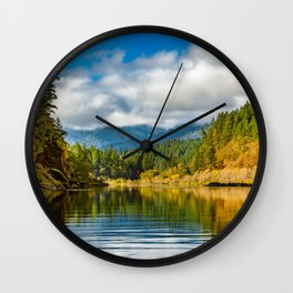 Peacful morning on the Rogue RIver Wall Clock