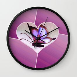 Butterfly Love - Lavender Wall Clock