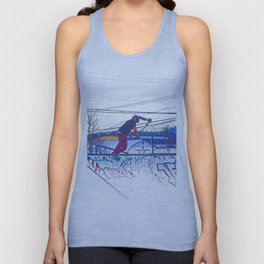 Spinning the Deck - Trick Scooter Sports Art Unisex Tank Top