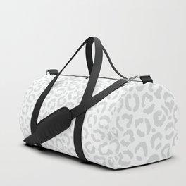 Elegant White Gray Leopard Cheetah Animal Print Duffle Bag