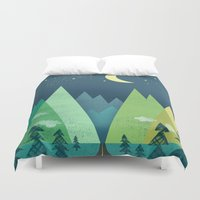road Duvet Covers featuring The Long Road at Night by Jenny Tiffany