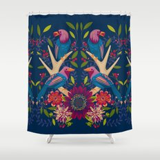 Midnight Magpies Shower Curtain