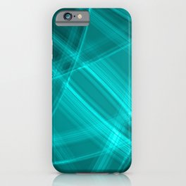 Metallic strokes with light blue diagonal lines of intersecting bright stripes of light.  iPhone Case
