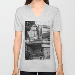 ancient angel on the memorial Unisex V-Neck