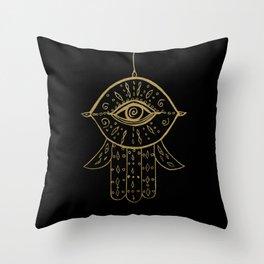 Hamsa Hand Gold on Black #1 #drawing #decor #art #society6 Throw Pillow