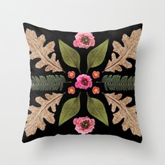 ROSE & LEAVES COLLAGE BLACK BACKGROUND Throw Pillow