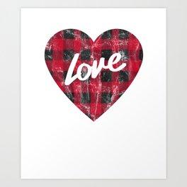 Buffalo Plaid Love Vintage Distressed Heart Art Print