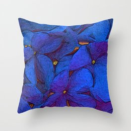 Crinkly floral blue Throw Pillow