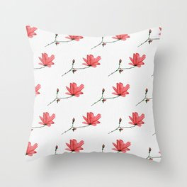 Red Magnolia in Acrylic Ink Throw Pillow