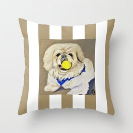 Peke Augie with ball Throw Pillow