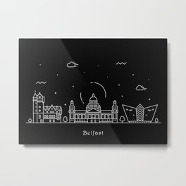 Belfast Minimal Nightscape / Skyline Drawing Metal Print