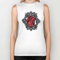 anatomical heart Biker Tanks featuring Anatomical  by inkd