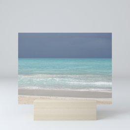 Summer storm   White sand, turquoise sea, gray sky   Travel Photography Mini Art Print