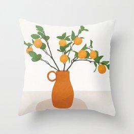 Orange Branches Throw Pillow
