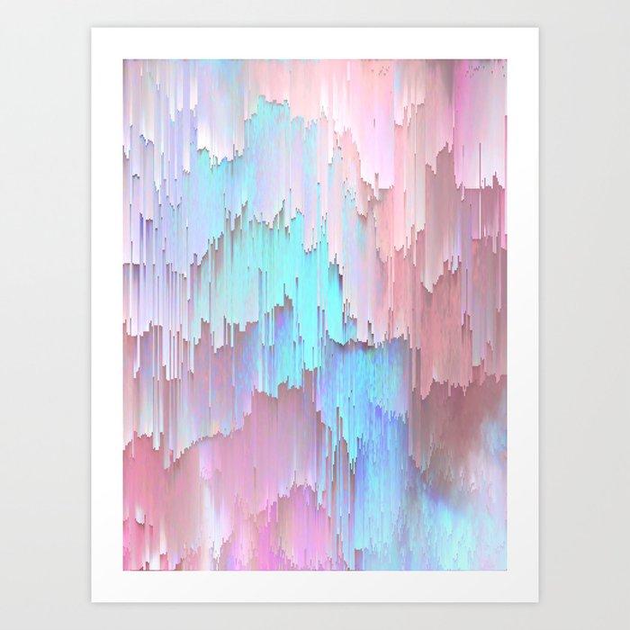 Pastel Glitches Fall Art Print