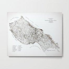 Santa Cruz Surf Map, 1938 Map featuring all the best surf spots! Surf Art & Home Decor Metal Print