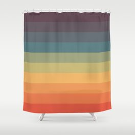 Colorful Retro Striped Rainbow Shower Curtain