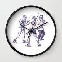 freud Wall Clocks featuring Freud, Jung, and Watts, walk into a bar... by Salgood Sam