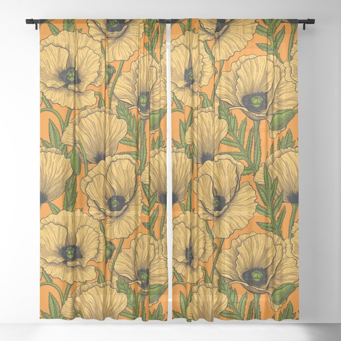 Yellow poppies  Sheer Curtain