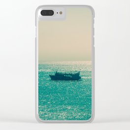 Endless Horizon. Boats Sailing into the Sea. Vintage Photography. Clear iPhone Case