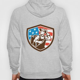 Welder Looking Side USA Flag Crest Retro Hoody