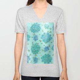 Mint gold blue turquoise gradient cactus flowers Unisex V-Neck