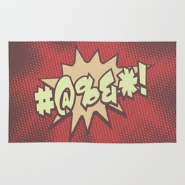 Mild profanity RETRO RED / Cartoonish anger Rug