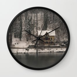 House On Lake Bled Wall Clock