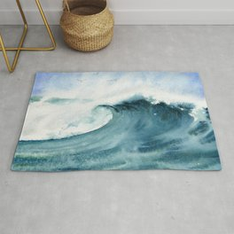 Wave Watercolor Study Rug