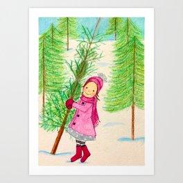 Time to pick a Christmas Tree Art Print